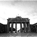 Brandenburg Gate. Black and white sketch sketches recognizable places in Europe.